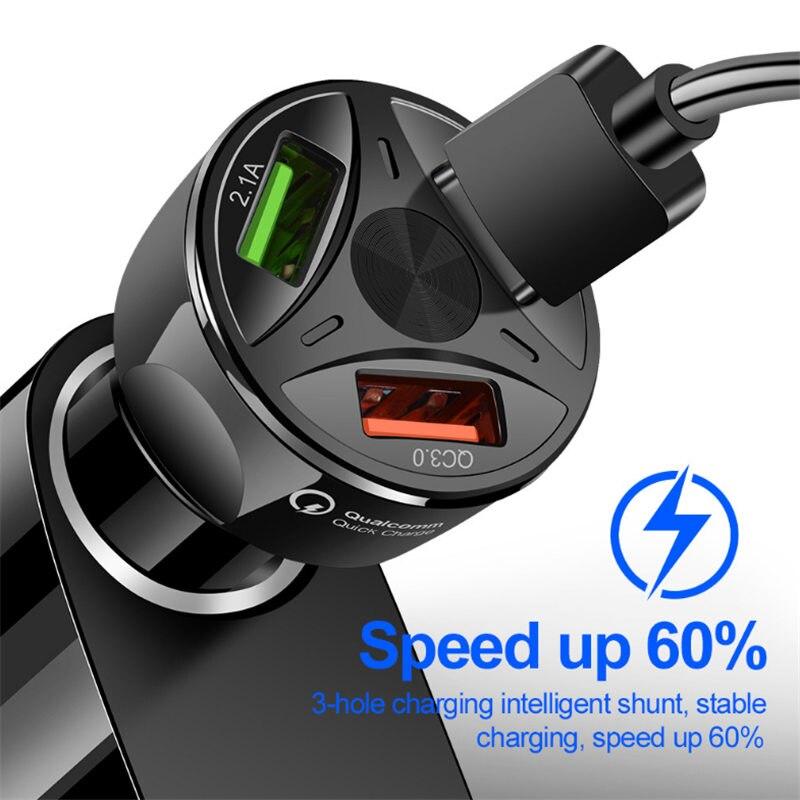 3 порта USB QC 3,0 3A мобильный телефон Быстрый USB Автомобильное зарядное устройство для iPhone, Samsung, Xiaomi, Huawei, USB Автомобильное зарядное устройство