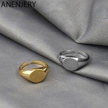 Anenjery 925 prata esterlina oval suave anel para mulher elegância simplicidade aberto anel jóias presente S-R1035
