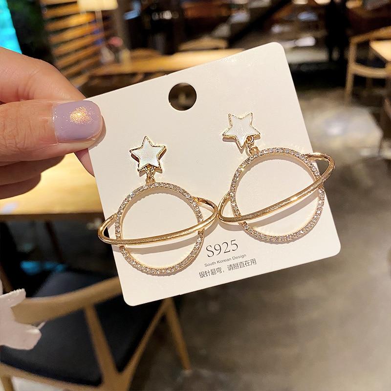 New Design Enamel Star Drop Earrings Women Fashion Crystal Hollow Out Round Dangle Earrings Wedding Party Statement Jewelry