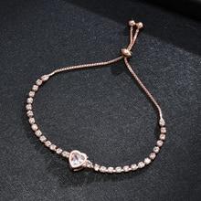 Chain Bracelet Charm Trendy Women Luxurious Heart Cute Crystal Sweet Simple