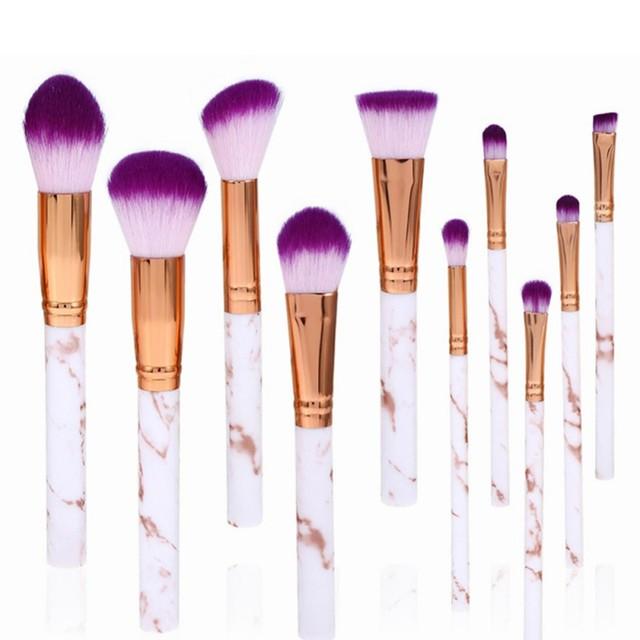10Pcs/Set Makeup Brushes Professional Marbling Handle Powder Foundation Eyeshadow Lip Make Up Brushes Set Beauty Tools 4