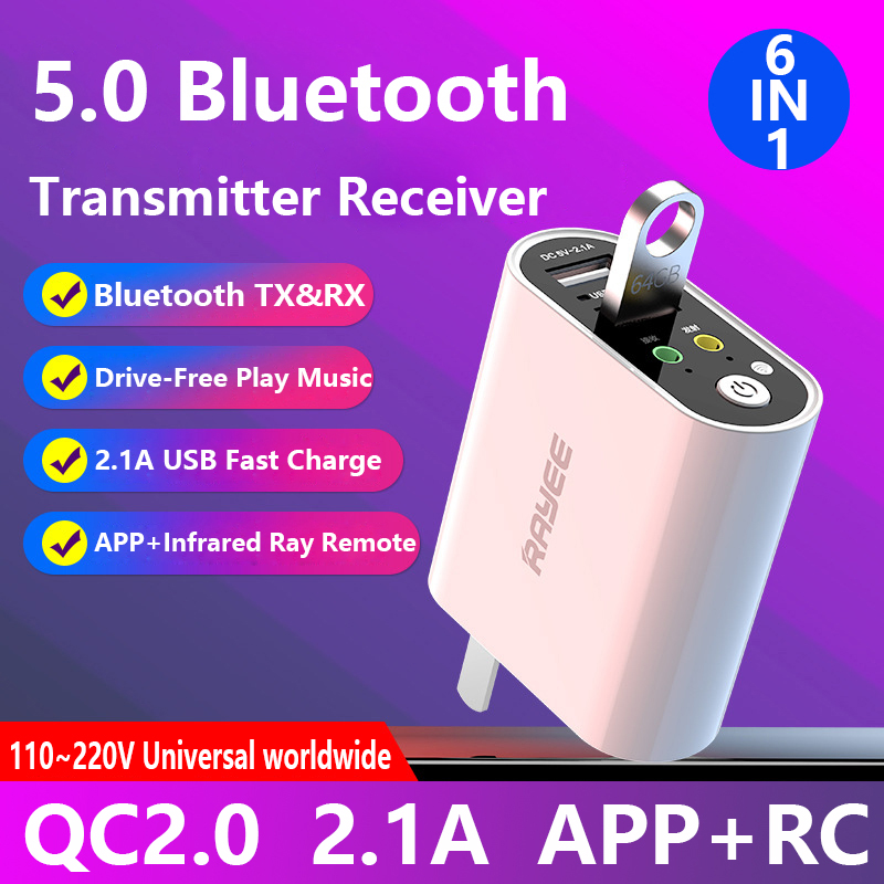 Bluetooth Receiver Transmitter Bluetooth 5.0 Stereo Audio Adapter For Aripods 2.1A USB Quick Charger APP+Remote Control