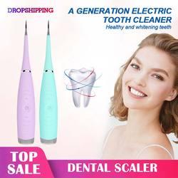 Elektryczny Ultra sonic sonic skaler dentystyczny ząb Calculus Remover Cleaner przebarwienia na zębach tatar narzędzie wybielić zęby tatar usuń w Irygatory do jamy ustnej od AGD na