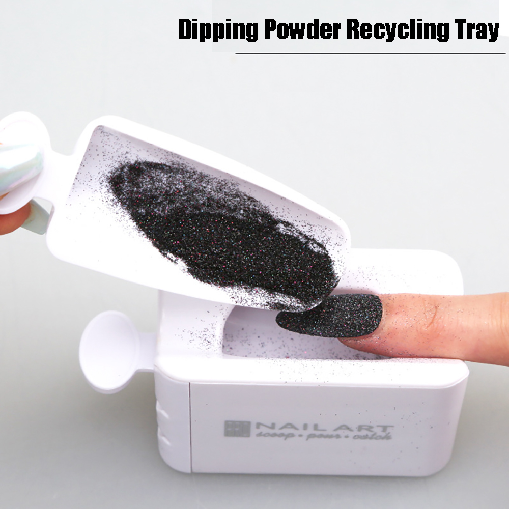 Newest Portable Dipping Powder Magic Mirror Powder Recycling Tray White Nail Sequin Glitter Storage Box Manicure Tools(China)