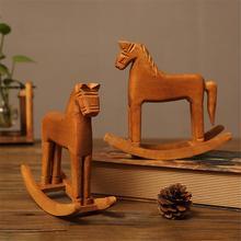 Handmade Wooden Horse Desktop Ornament Crafts Rocking Pony Home Decoration Kids Toy