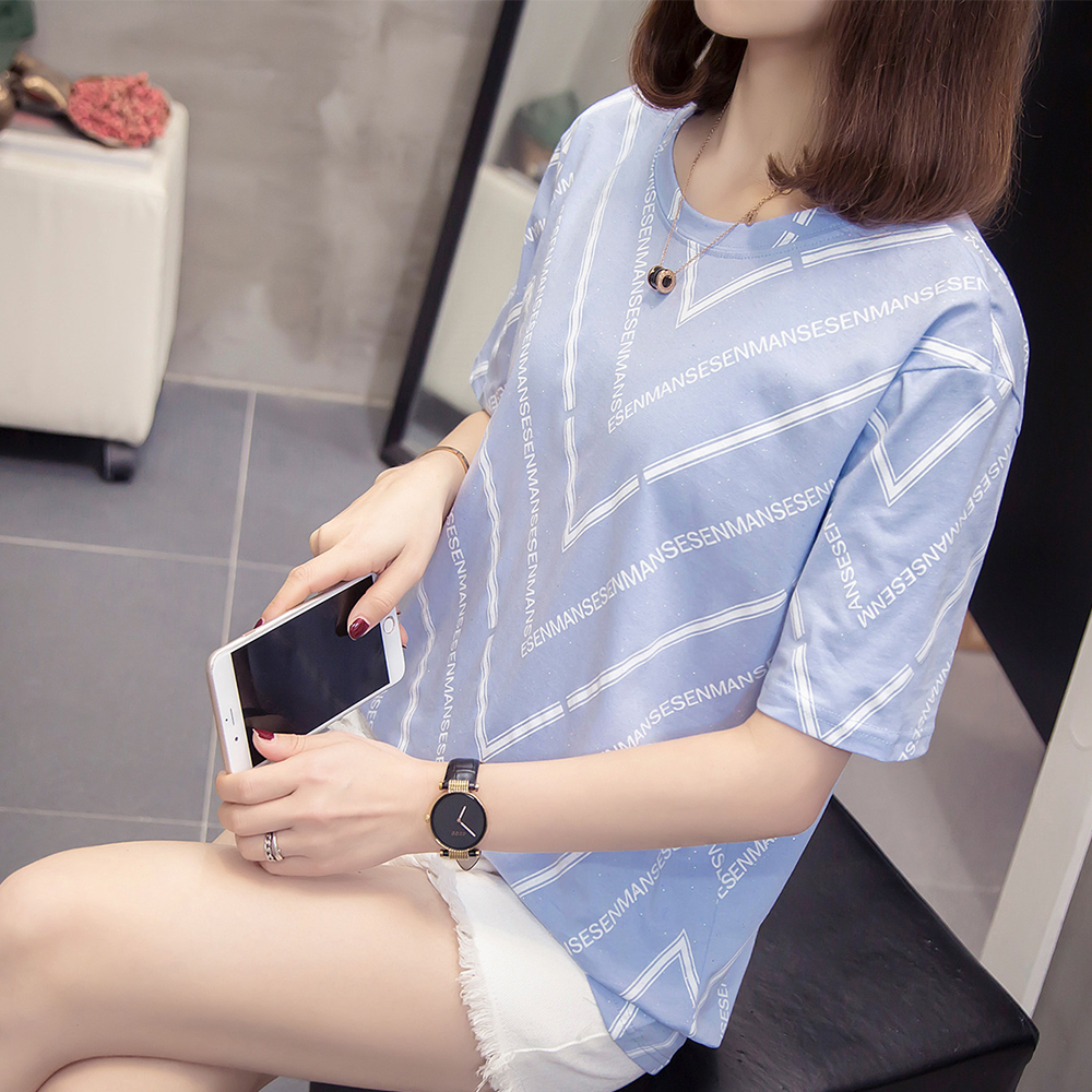 Plus Size Letter Print T-shirt 2020 New Summer Women Casual Loose Striped Top T Shirts Oversize Short Sleeve Basic Tshirts