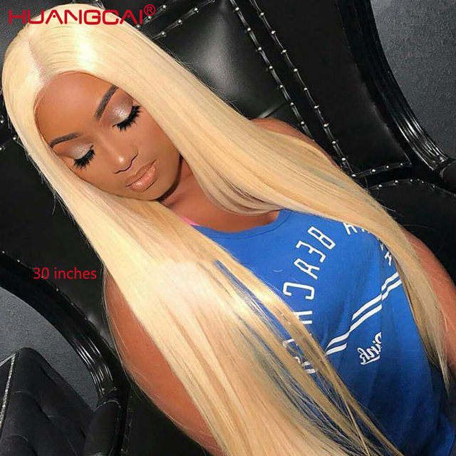 $ US $53.20 Middle Part 613 Blonde Lace Front Human Hair Wigs Pre Plucked Brazilian Straight 13x4 Lace Wigs With Baby Hair Remy Honey Blonde