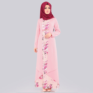 Image 1 - מזויף שני חלקים סט חיג אב שמלת ערבי בגדים אסלאמיים העבאיה נשים הדפסת פרחוני מנהג עממי המוסלמי מקסי שמלות דובאי slim קפטן