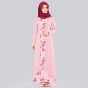 Image 1 - Abaya robe Hijab pour femmes, ensemble deux pièces, tissu islamique arabe, imprimé Floral, Folk, personnalisé, robes Maxi, Slim, Dubai, Kaftan
