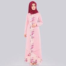 Falso in Due pezzi Set Vestito Hijab Arabo Abbigliamento Islamico Abaya Delle Donne Stampa Floreale Costume Popolare Musulmano Maxi Abiti Da Dubai sottile Caftano