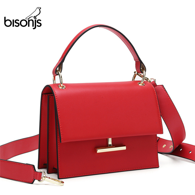 BISON Luxury Handbags Women Bags Designer Cow Leather Fashion Crossbody Bags For Women 2019 Ladies Shoulder Bag Bolsa B1616