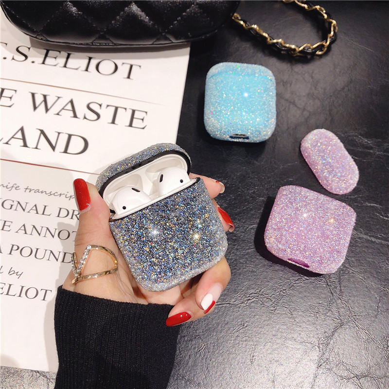Glitter Bling Case For Airpod Casees Earphone Headset Accessories Plain Hard PC Case For Airpods Wireless Bluetooth Headset Bags