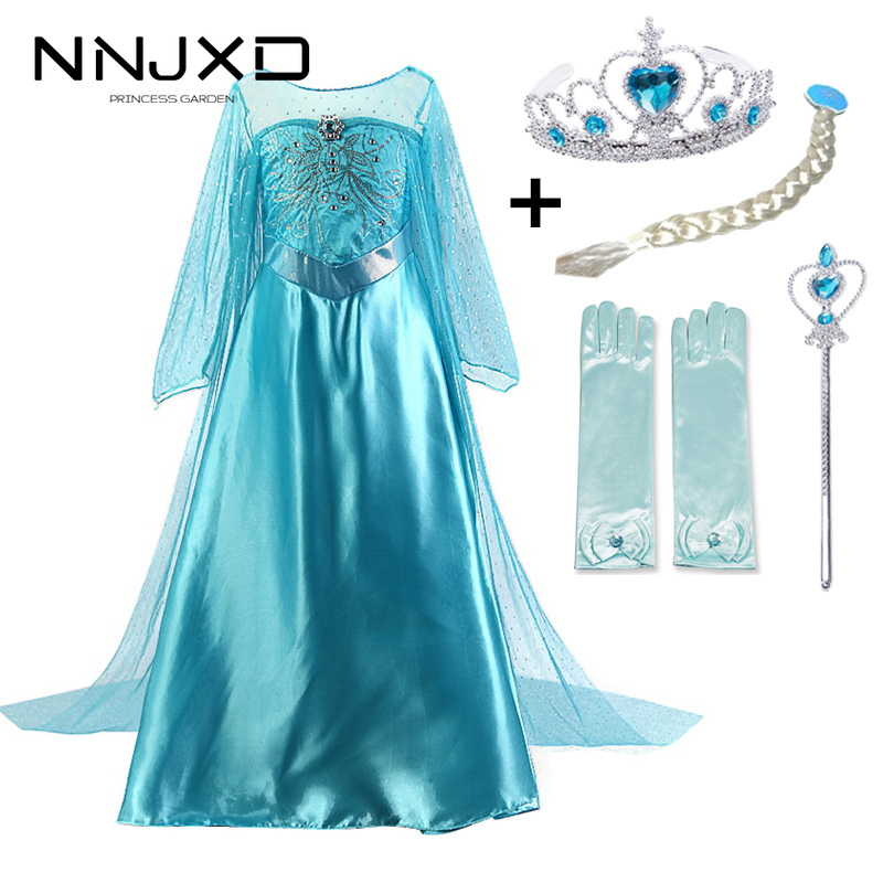 New Elsa Kids Dresses For Girls Princess Anna Elsa Costumes Kids Cosplay Party Dresses