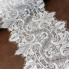 (3 metros/lote) cinta de encaje de pestaña negro y blanco de 300mm, encaje de gasa bordado, Manual de boda, tela de vestido Diy