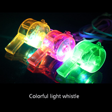 30pcs/lot Flashing Whistle & Colour Lanyard LED Light Up Fun In the Dark Party Rave fun in the sun