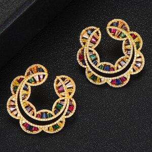 Image 3 - GODKI Sunflower Charms 2PC Nigerian Necklace Earring Jewelry Set For Women Wedding Cubic Zircon Indian Dubai Bridal Jewelry Sets