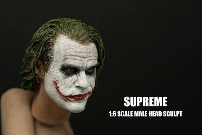 Image 3 - 1/6 весы Бэтмен Джокер хедплей хит Ledger голова лепить с тяжелым макияжем мужской головной убор для 12 дюймов DIY фигуркиИгровые фигурки и трансформеры    АлиЭкспресс