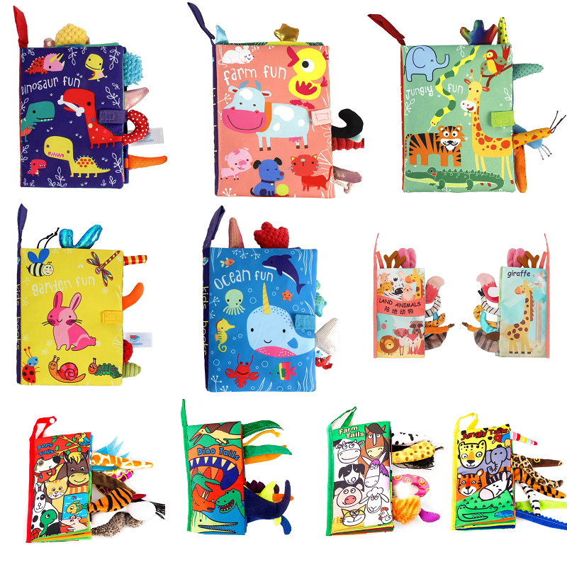 Animal Tail Dinosaur Baby Cloth Book Soft For Kids Learning Quiet Books Activity Book Newborn Early Educational Toys 0-12 Months