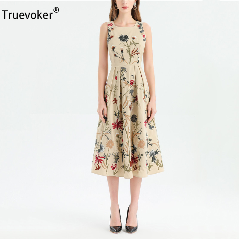 Truevoker Summer Designer Holiday Dresses Womens Square Collar 