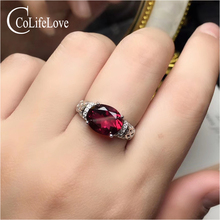 Joyería de CoLife anillo de granate Natural para uso diario 8mm * 10mm anillo de plata granate Natural 925 Plata granate anillo de piedras preciosas de joyería de