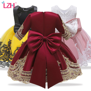 LZH New Year Red Christmas Dress For Girls Costume Halloween Kids Dresses For Girls Princess Dress Children Party Dress vestido