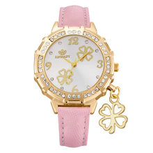 Fashion Women Watch Student Girls New Four Leaf Clover Pendant Small Fresh PU Leather Watch Female High Quality Luxury Clock(China)