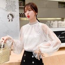 Long Sleeve Camisas Mujer Camisa Feminine New 2019 Autumn Women Blouses Shirts Sexy Tops Chiffon Elegant Sweet 876C
