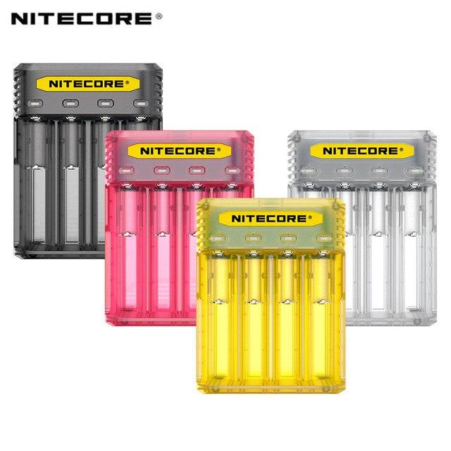 NITECORE Q4 4 Bay 2A için hızlı şarj Li ion IMR 16340 10440 AAA 14500 18650 26650 elektronik sigara pil şarj cihazı