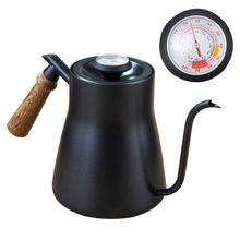 Coffee-Kettle Gooseneck Teapot Drip-Spout Wood-Handle Pouring Cafe Stainless-Steel Black