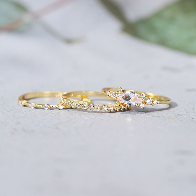 Tiny Small Ring Set For Women Gold Color Cubic Zirconia Midi Finger Rings Wedding Anniversary Jewelry Accessories Gifts KAR229 3