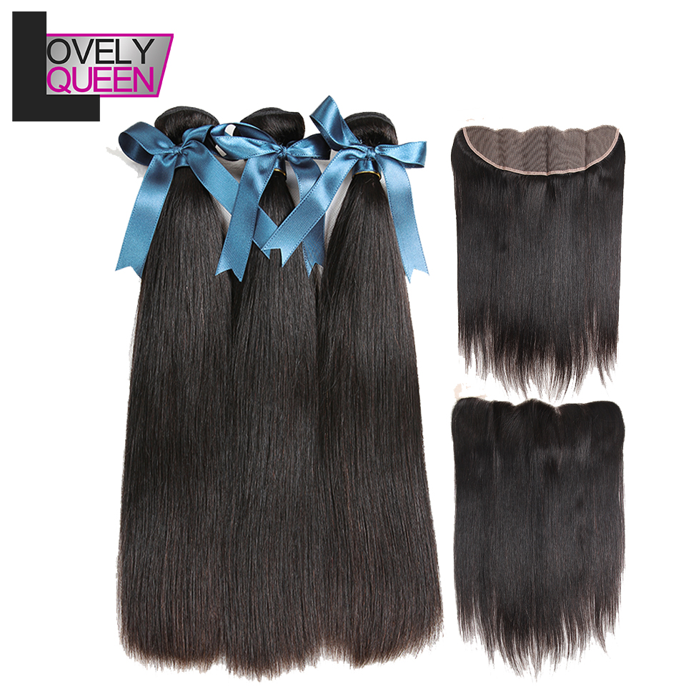 Lovely Queen Human Hair Brazilian Straight Hair  3 Bundles With Frontal Closure 100 %  Human Non Remy  Hair Extensions