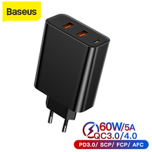 gocomma travel charger kit type c usb adapter Baseus 60W USB Charger US Plug Dual USB Quick Charge 3.0 4.0 Type-C Fast Charger EU Adapter Travel Wall Charger For Phone Charge