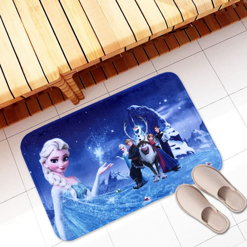 Frozen Elsa Anna Flannel Bath Mat  Bath Rug Absorbent Soft Bathroom Rugs Carpet For Shower Tub Bedroom Entry Machine Washable