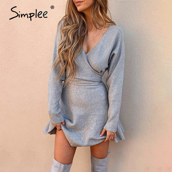 Simplee Sexy v-neck knitted women dress Elegant A-line solid wrap short winter sweater dress Autumn lady slim short knits dress 1