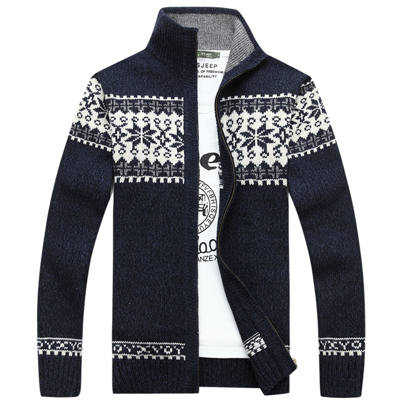 Winter Men's Jacquard Sweater Coat Slim Stand Collar Tide Wool Knitted Cardigan Full Zip Casual Warm Male Clothing for Autumn