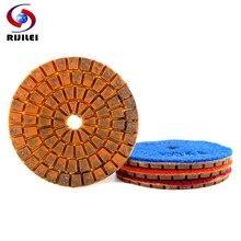 цена на RIJILEI 4PCS 80mm Diamond polishing pads 3inch Wet Copper bond polishing pad for granite marble concrete floor Grinding Disc