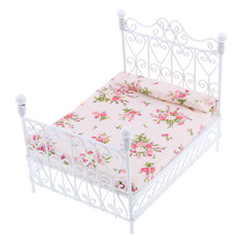 1: 12 Dollhouse Miniature Bedroom Furniture Metal Bed With Mattress Accessory Toy цена и фото