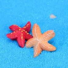 Милая летняя красная желтая Морская звезда песчаный пляж Модель Статуэтка статуэтки ручной работы орнамент миниатюрные DIY домашний декор