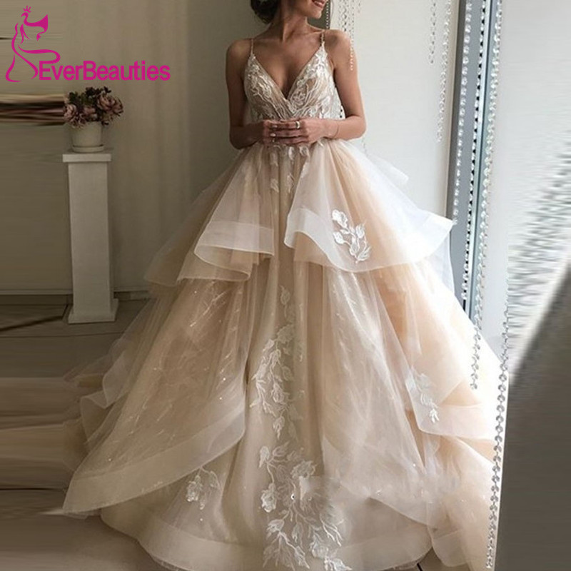 Ball Gown Wedding Dress 2019 Appliques Lace Tulle Light Champagne Wedding Gowns Bride Dress