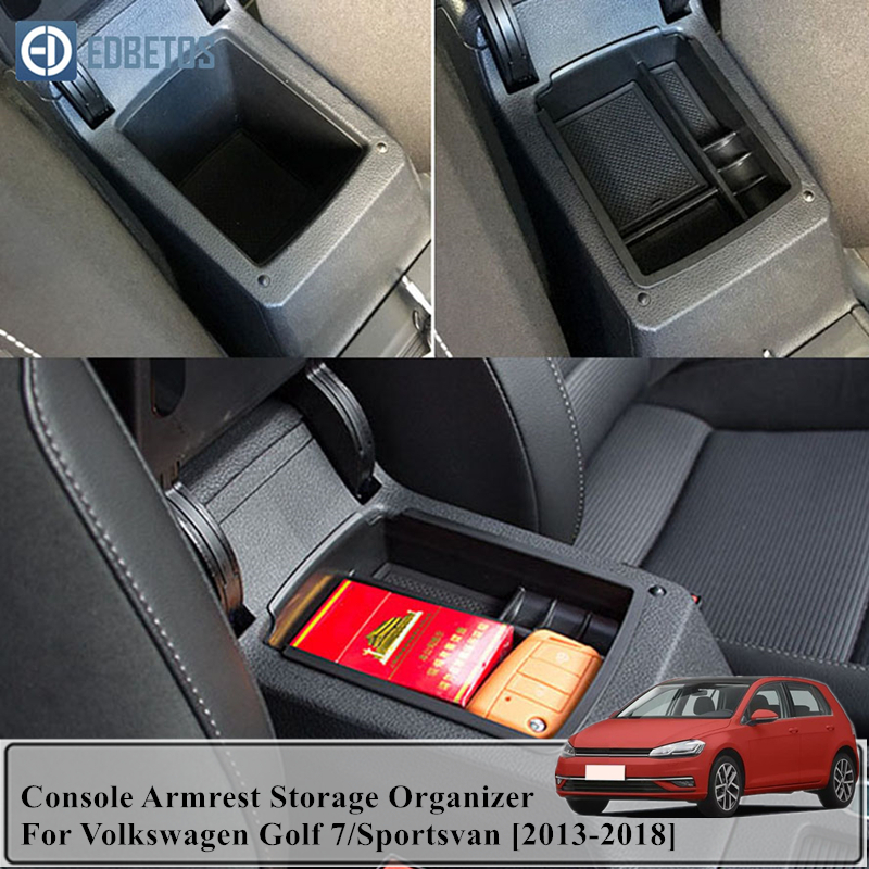 Caixa de apoio de braço para volkswagen golf 7 apoio de braço central caixa de armazenamento recipiente titular bandeja golf mk7 vii 5g gt i r 2013 2017|Braços|   -
