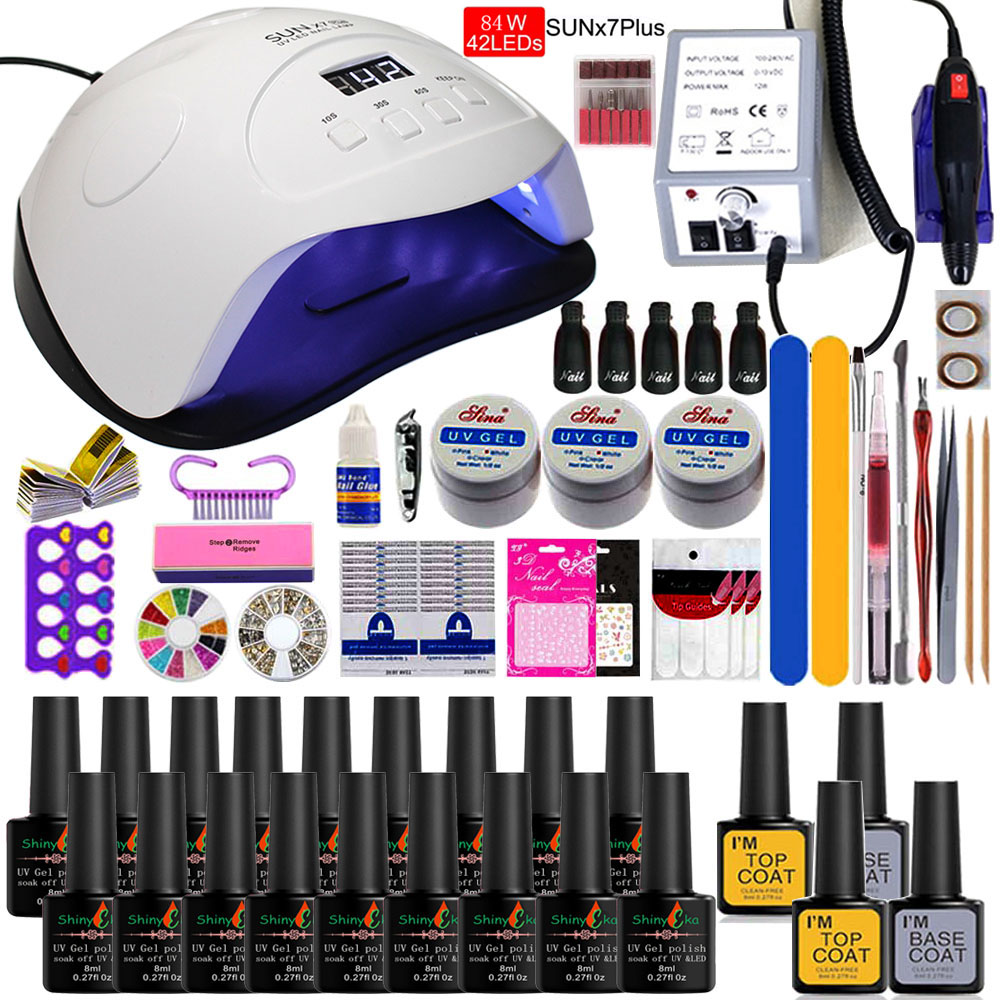 Super Manicure Set For Nail Kit With Led Nail Lamp 20000RPM Nail Drill Machine Nail Polish Kit Acrylic Kit Nail Art Tools Set