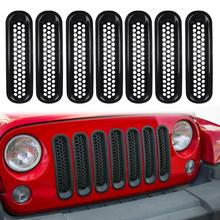 Universal Car Racing Grills 7Pcs Car Auto Front Insert Mesh Grille Trim Cover Accessories for Jeep Wrangler гриль тефаль dot mesh insert crochet trim shirt