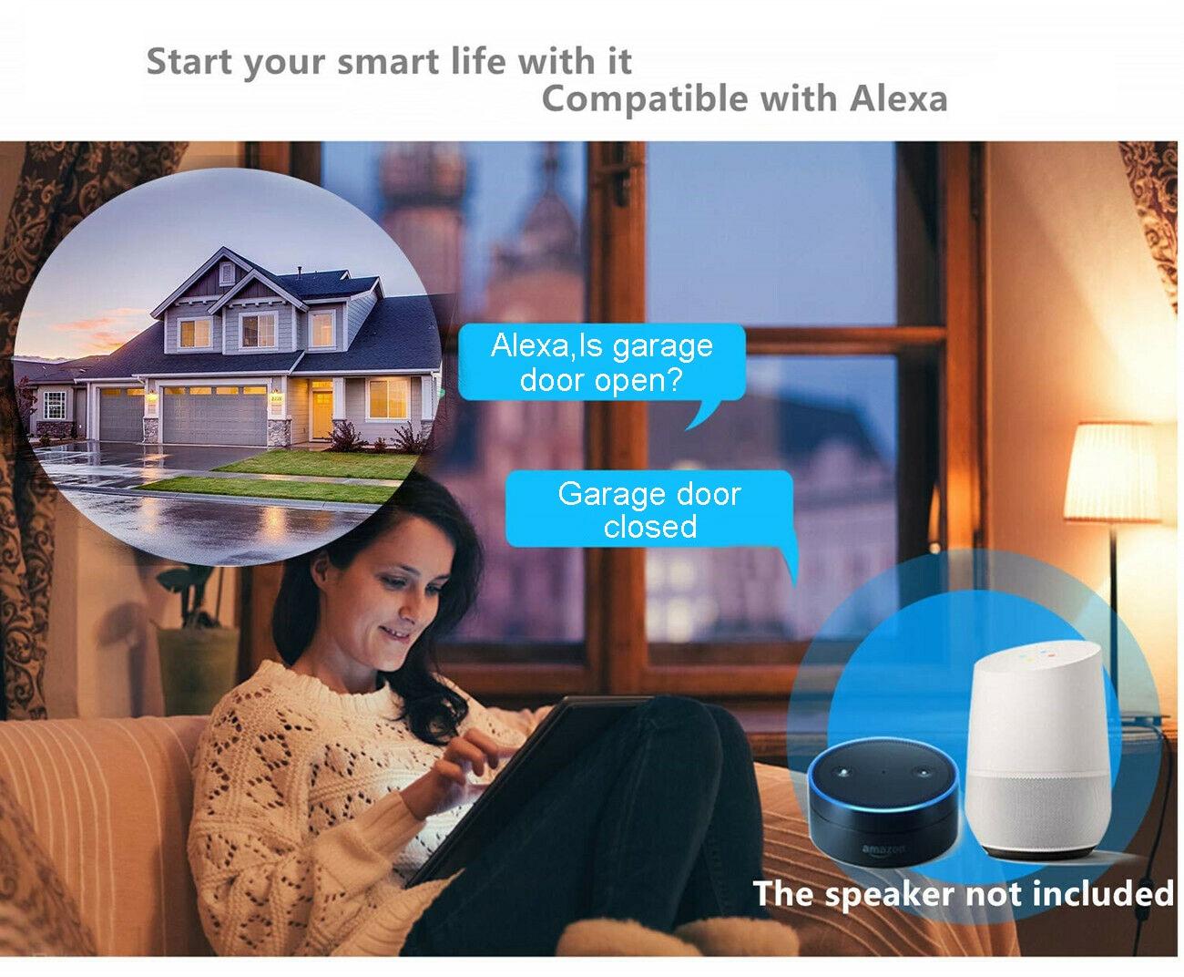 H86ec55acc297463aae769f13bea15083H Wofea WiFi Switch Smart Garage Door Opener Controller Work With Alexa Echo Google Home SmartLife/Tuya APP Control No Hub Require