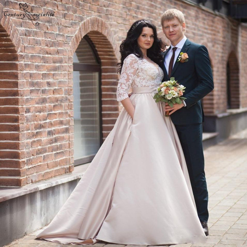 Champagne Plus Size Wedding Dresses 2020 Pockets 3/4 Long Sleeves Satin A-line Bridal Gowns Bride Dress Vestido De Noiva
