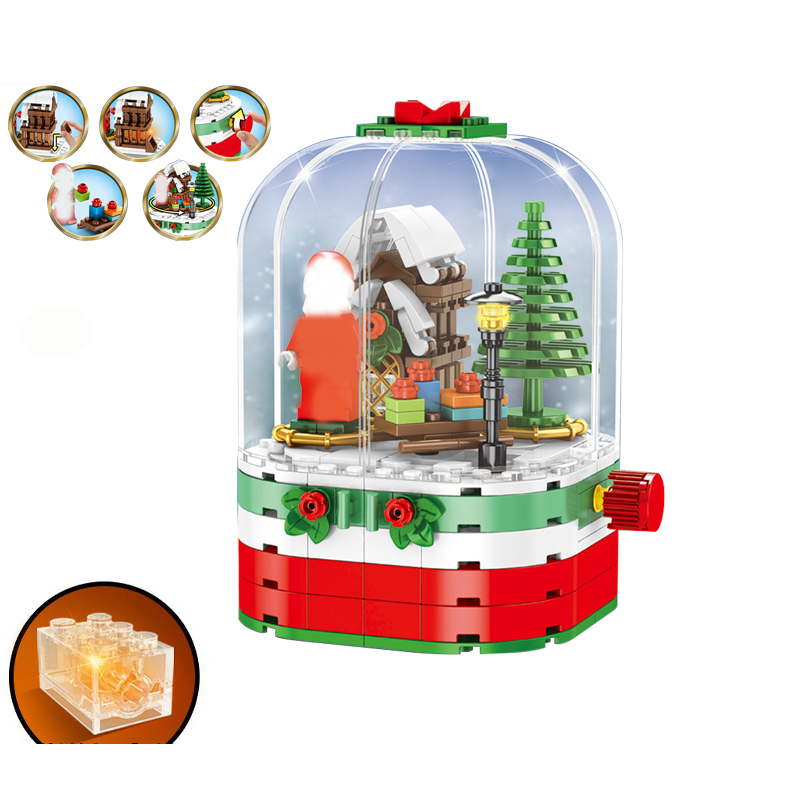 SEMBO 601090 Merry Christmas Theme Gift Santa Claus Elk Educational Building Blocks Bricks Toys For Children