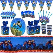 Straws Kids Plates Party-Supplies Party-Decoration Superhero-Theme Baby Shower Birthday