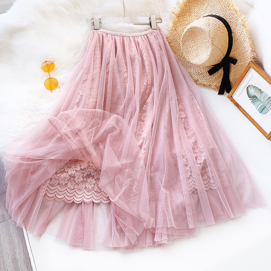 2020 Women Lace Crochet Flower Three Layer Skirt Vintage Women High Waist Boho Long Skirt Faldas Jupe Femme Saia