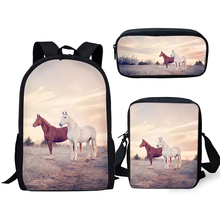 HaoYun Fashion Childrens Backpack Kawaii Horse Pattern Kids School Book Bags 3PCs Set Students Backpack/Flaps Bag/Pen