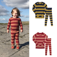 Kids Clothes Sets 2019 Fashion Brand New Autumn Boys Girls Knitwear + Pants 2 Pcs Baby Children Cotton Stripe Homewear clothing
