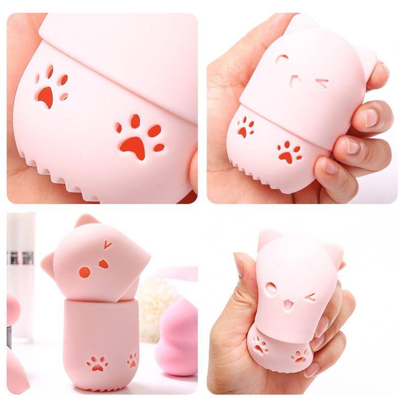 H86ec8b46962f4d988713b26f2bac5473T 1PC Beauty Powder Puff Blender Holder Sponge Makeup Egg Drying Case Portable Soft Silicone Cosmetic Blender Sponge Box Holder